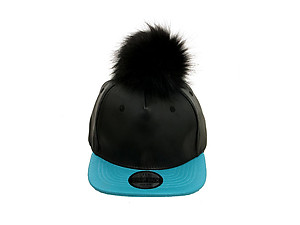 Turquoise and Black Faux Leather Pom Pom Snapback Baseball Hat Cap w/ Watch Strap Closure