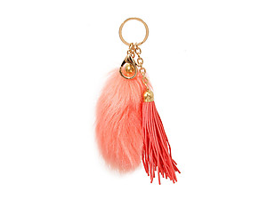 Coral Fur Tail and Suede Tassel Drop Keychain