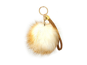 Brown Faux Fur Pom Pom and Suede Jeweled Hand Holder Keychain