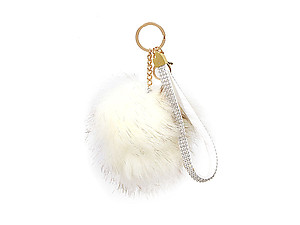 White Faux Fur Pom Pom and Suede Jeweled Hand Holder Keychain