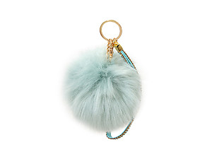 Light Blue Faux Fur Pom Pom and Suede Jeweled Hand Holder Keychain