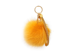 Yellow Faux Fur Pom Pom and Suede Jeweled Hand Holder Keychain