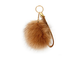 Dark Brown Faux Fur Pom Pom and Suede Jeweled Hand Holder Keychain