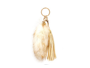 Brown Fur Tail and Suede Tassel Drop Keychain