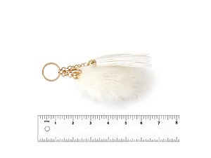 White Fur Tail and Suede Tassel Drop Keychain