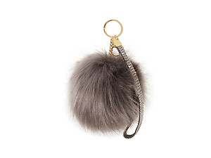 Gray Faux Fur Pom Pom and Suede Jeweled Hand Holder Keychain