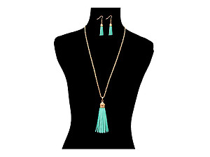 Suede Tassel Long Goldtone Chain Necklace Set