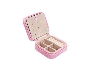 Pink Snakekin Look Portable Travel Jewelry Storage Box