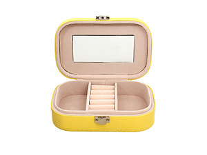 Mint and Yellow Lockable Portable Travel Jewelry Storage Box