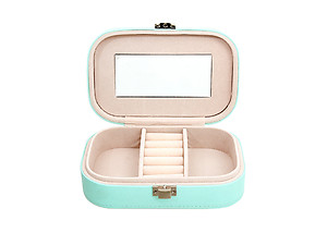 Pink and Green Lockable Portable Travel Jewelry Storage Box