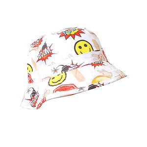 White Emoji Stop Sign Fashion Bucket Hat