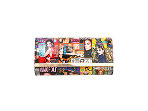 Vinyl Multi Color Cosmopolite Fashion Magazine Clutch Bag
