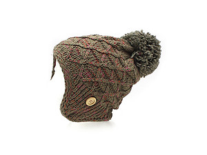 Taupe Pom Pom Accent Earflap Thick Winter Knitted Fashion Beanie