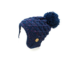 Blue Pom Pom Accent Earflap Thick Winter Knitted Fashion Beanie