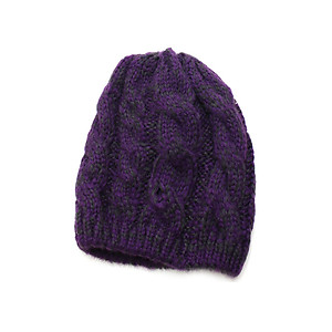 Purple Unisex Thick Winter Knit Beanie Hat Cap Headgear
