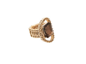Goldtone Metal Round Crystal Stretch Ring