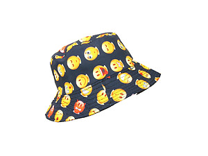 Navy Emoti Pattern Fashion Bucket Hat