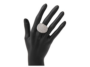 Pave Clear Rhinestone Dome Silvertone Cocktail Stretch Ring