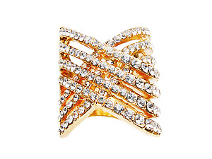 Rhinestone and Goldtone Criss Cross Ring