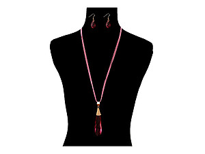 Teardrop Stone Chain Layered Long Necklace Set