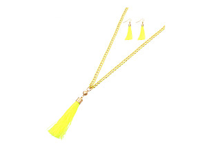 Goldtone Dangling Cord Tassel Metal Chain Necklace Set