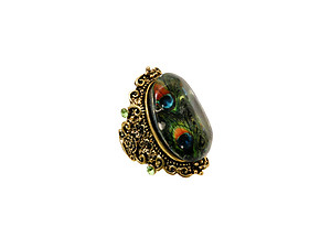 Multicolor Stone Antique Burnish Metal Stretch Ring