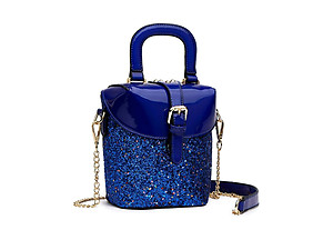 Glitter Metallic Vegan Leather Boxy Handbag w/ Removable Strap