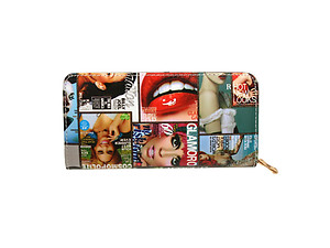 Multi Color Celebrity Style Parody Magazine Fashion Zipper Clutch Wallet Book Style