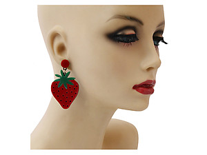Red Strawberry Colorful & Fun Acrylic Summer Fashion Drop Earrings