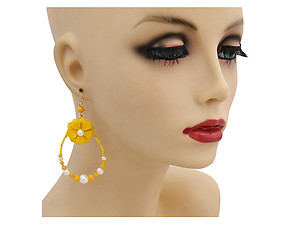 Colorful & Fun Flower Teardrop Earrings with Faux Pearl and Bead Detail