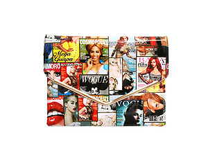 Gold Trim Multi Color Celebrity Style Parody Magazine Fashion Clutch