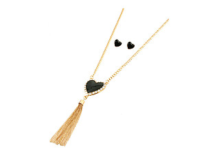 Goldtone Heart Tassel Long Necklace & Earring Set