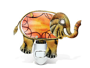 Elephant Handcraft Art Glass and Metal Decorative Night Light