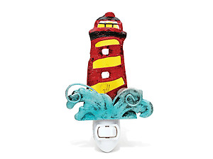 Lighthouse Handcraft Art Glass and Metal Decorative Night Light