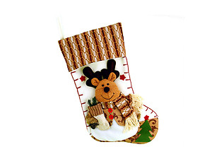 Plush Brown Reindeer Christmas Stocking
