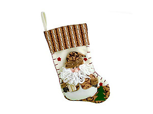 Plush Brown Santa Christmas Stocking