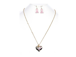 The Cure Breast Cancer Awareness Ribbon Necklace Set