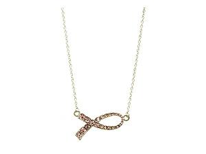 Pink Ribbon Crystal Stone Necklace