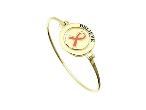 Goldtone Pink Ribbon Orbit Pendant Metal Bangle Bracelet