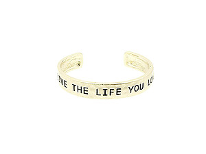 Goldtone Live The Life You Love Hammered Metal Cuff Bracelet