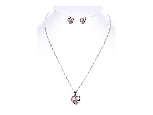 Pink Breast Cancer Awareness Metal Heart Pendant Jewelry Set
