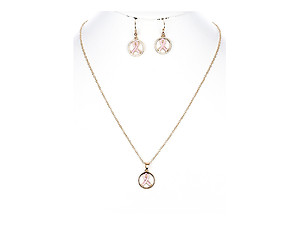 Pink Ribbon Metal Epoxy Coat Pendant Jewelry Set