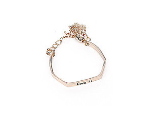 Love Is Chain Tassell Link Angled Metal Cuff Bracelet