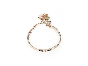 Goldtone Live Love Laugh Chain Tassell Link Metal Cuff Bracelet