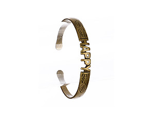Happy Brass Message Cuff Bracelet