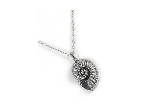 Silvertone Aged Finish Metal Snail Pendant Necklace