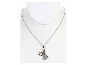 Clear Metal Angel Pendant Pave Crystal Stone Necklace