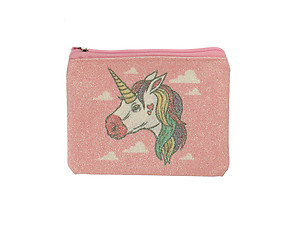 Glitter Finish Unicorn Print Zipper Coin Purse Wallet w/Key Ring