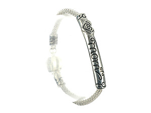 MOM Matte Finish Curved Metal Bar Message Charm Bracelet