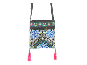 Tassel Fabric Embroidery Flower Crossbody Bag with Zipper Closure
